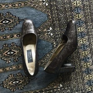 Vintage Stuart Weitzman Brown Snake Print Heels 6B